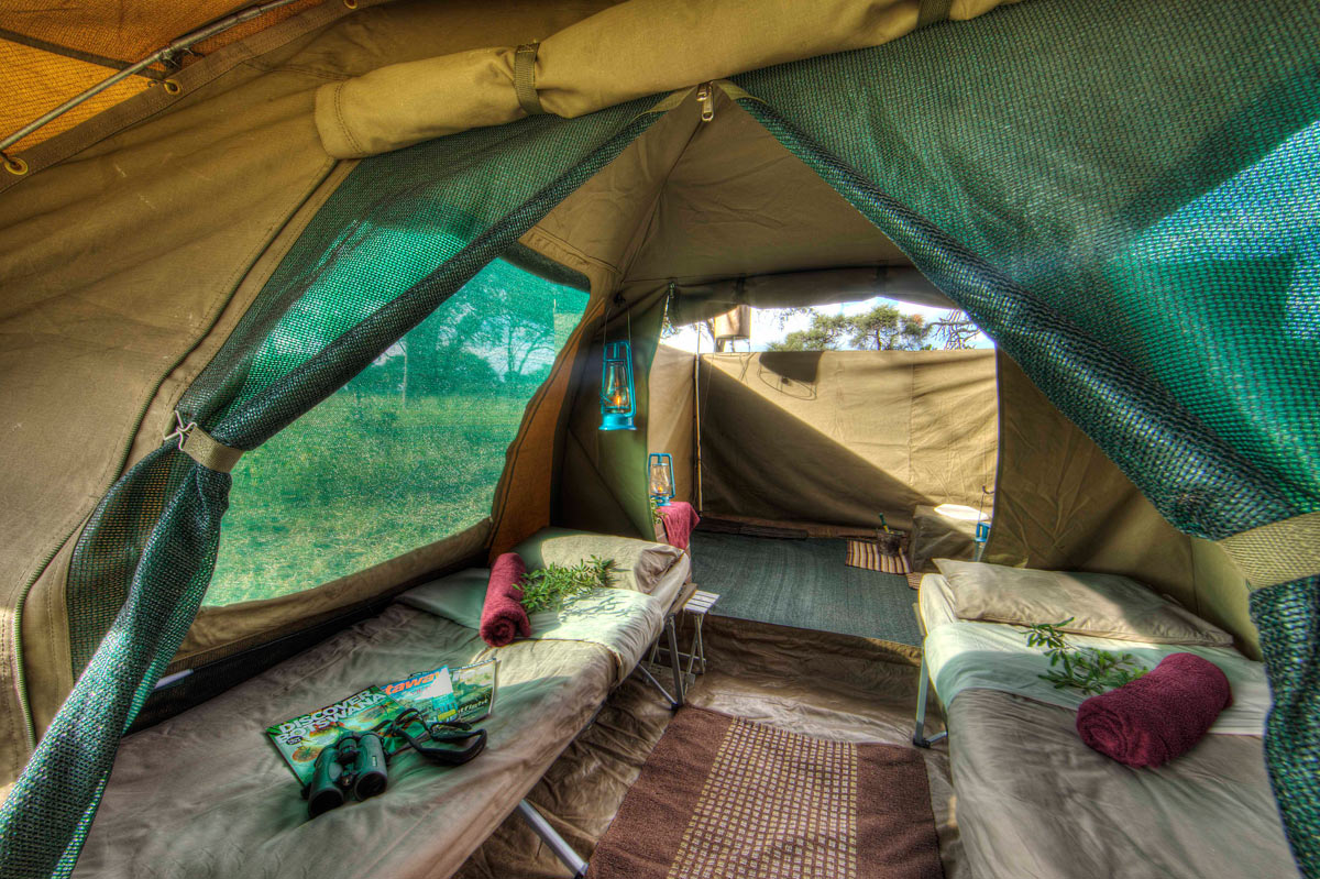 En-suite interior showing the attached bathroom area & Authentic Mobile Camping Safaris | Botswana Zimbabwe
